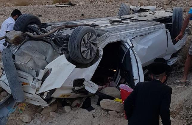 תאונת דרכים קשה בכביש 90 באזור ים המלח עם מעורבות חסידי ברסלב